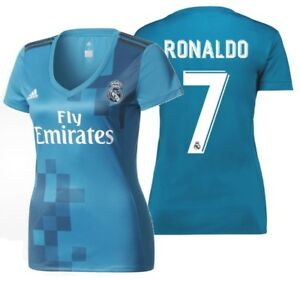 best cheap 18937 0117f Details about ADIDAS CRISTIANO RONALDO REAL MADRID WOMEN'S THIRD JERSEY  2017/18.