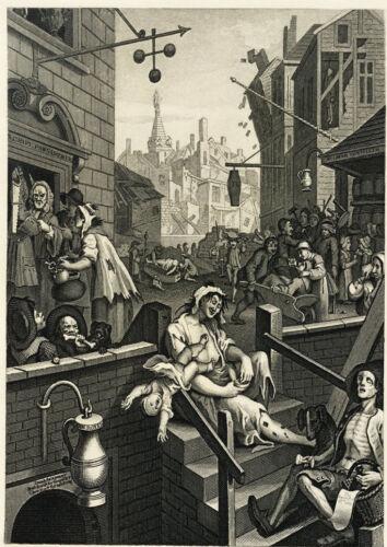 Carte de vœux Gin Lane par William Hogarth Imprimé sur 230gsm papier photo