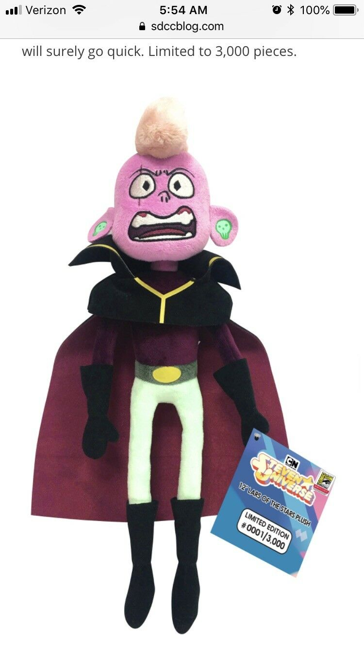 "SDCC 2018 UCC CN Steven Universe 12"" Lars Of The Stars Plushie In Hand"