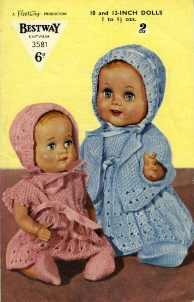 0be925d63568 Vintage reto photo copy Knitting Pattern Bestway No 3581 dolls ...