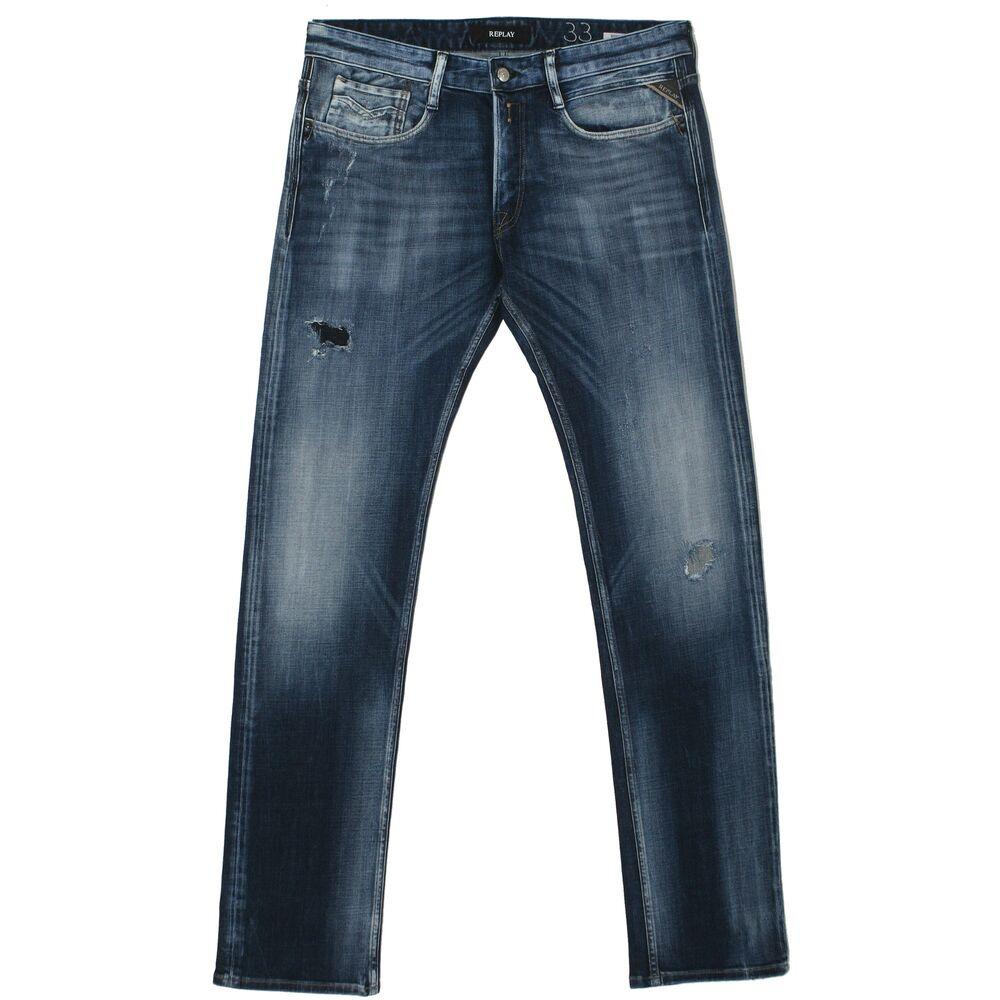 21835 Replay Homme Jeans Pantalon Newbill Ma955 Comfort Straight Blue Vintage Bleu