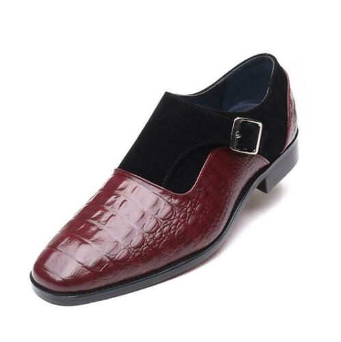Mens Low Top Leather Shoes Pointy Toe Buckle Work Buiness Crocodile Print Casual