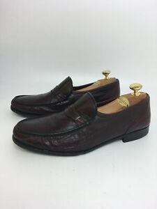 Herren-Russell-amp-Bromley-Burgund-Leder-Loafer-Slipper-Smart-Arbeit-Schuhe-UK-10