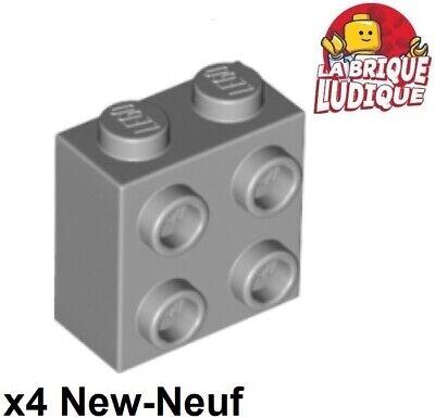 2x Brique Brick Modified 1x1 stud 4 side gris//light bluish gray 4733 NEUF Lego