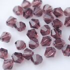 50pcs 6mm Bicone Faceted Crystal Glass Charms Loose Spacer Beads Reddish Violet