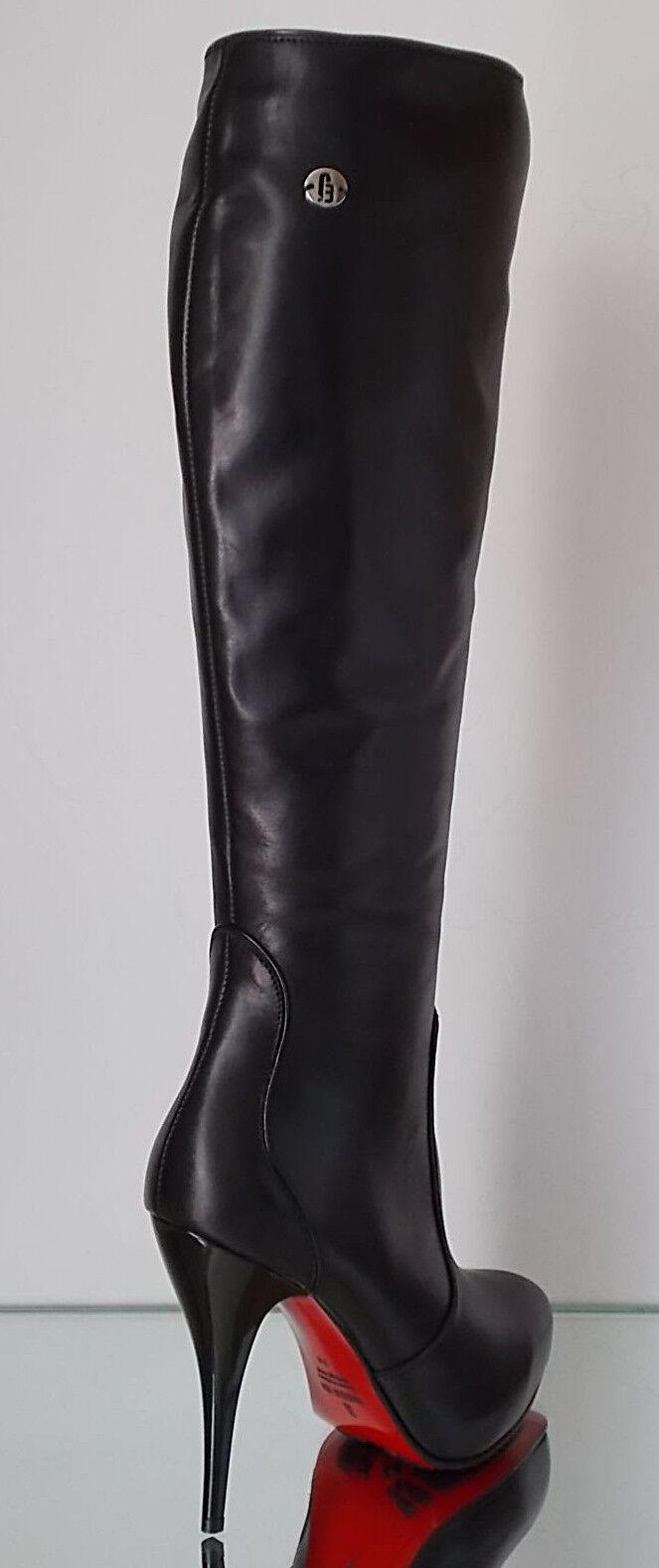 Damen HIGH HEELS Stiefel Echtleder Exklusiv 1255 Italienische Mode NEU & OVP