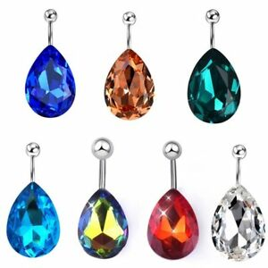 Details About Silver Teardrop Gem Stainless Steel 14g Belly Ring Body Jewellery Navel Br18