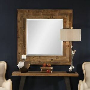 Details About Large Reclaimed Elm Wood Square Beveled Wall Mirror Modern Strip Design Coastal