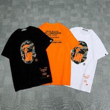 Men/'s Bape A Bathing Ape Camo Monkey Head Cotton Basic Tee T-shirt Short Sleeve!