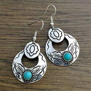 Vintage-925-Silver-Turquoise-Earrings-Ear-Hook-Dangle-Drop-Boho-Wedding-Jewelry