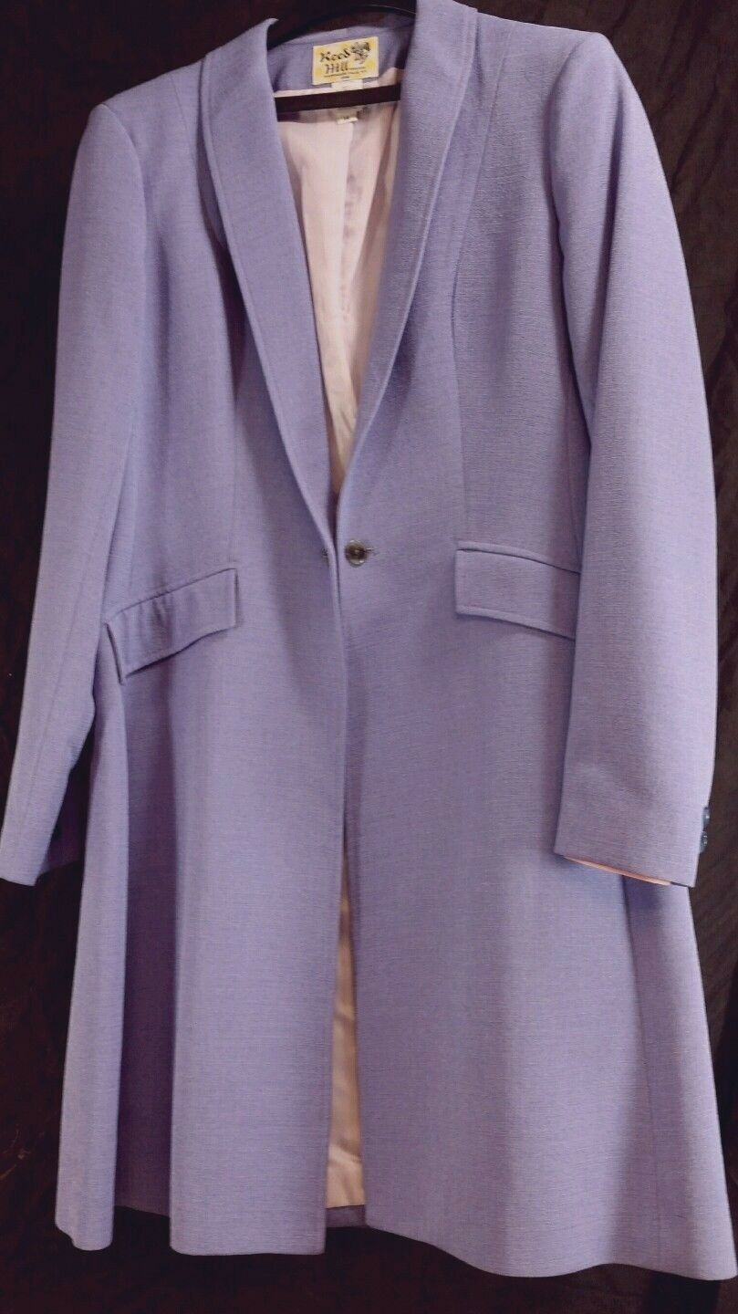 Reed Hill Saddleseat Day Coat violets violet clair poly lin tissage Taille 12 USA