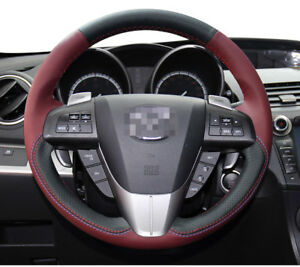 DIY Stitching Leather Steering Wheel Cover for 2010-2013 Mazda 3 Mazda 5 6 CX-9