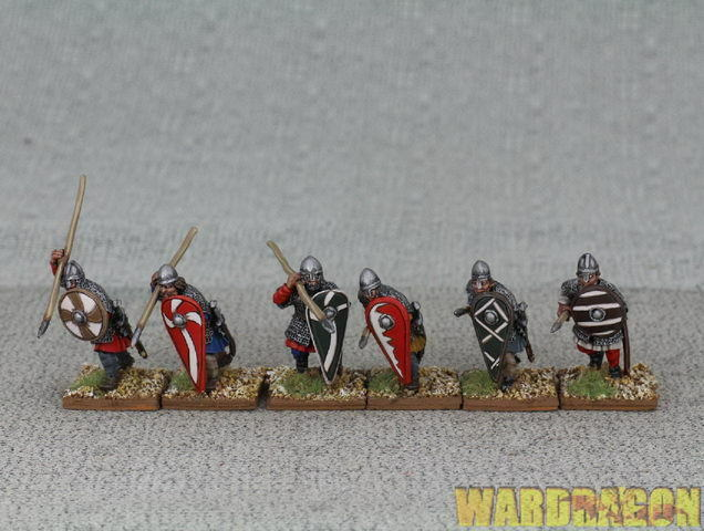 28mm Perry Bros Scale Crusader WDS painted Mailed Spearmen, advancing att ii25
