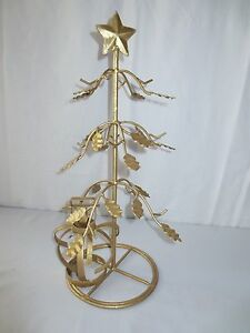 image is loading gold tabletop christmas tree ornament display w candle - Metal Christmas Tree Ornament Display