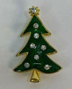 Vintage-Gold-Tone-Enamel-Rhinestone-Christmas-Tree-Brooch-Pin-Jewelry-DR70