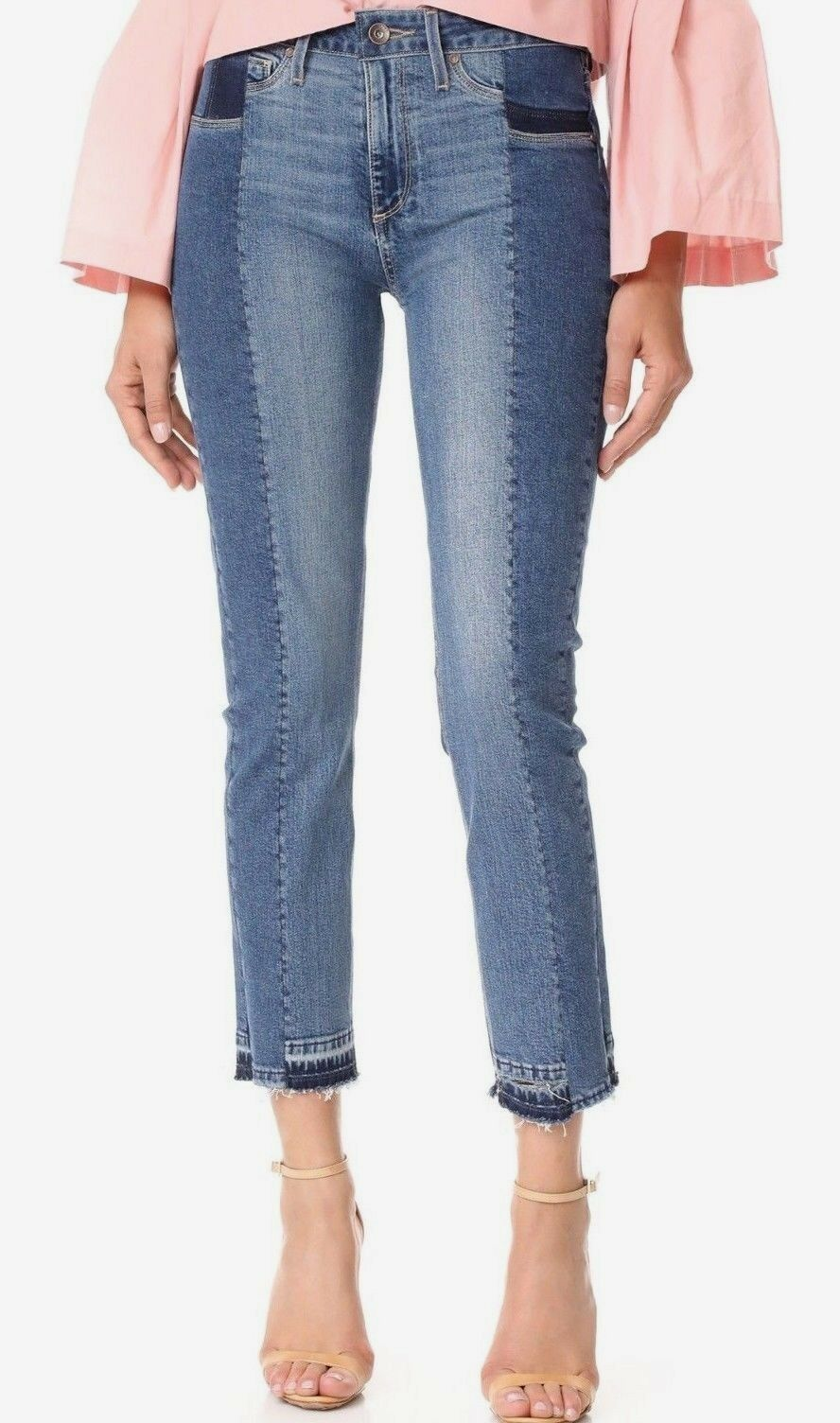 325 NWT PAIGE Sz26 TAYLOR PATCHWORK RAW ANKLE HI-RISE STRAIGHT JEANS LYLA blueE