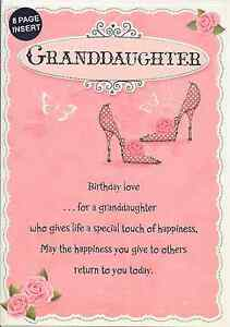 Image Is Loading GRANDDAUGHTER BIRTHDAY CARD 8 PAGE INSERT LOVELY VERSE