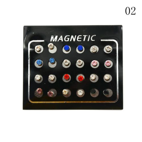 12 Paar modische gemischte Magnetohrringe ohne Piercing 3//4//5//6 mm xj