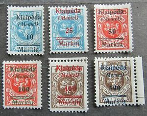 Memel 1923 Lithuanian Official Stamps ovptd & srchgd, compl.set, Mi #129-34 MH