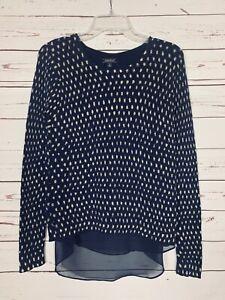 Lucky-Brand-Women-039-s-Sz-S-Small-Navy-Blue-Beige-Dot-Fall-Winter-Cute-Sweater-Top
