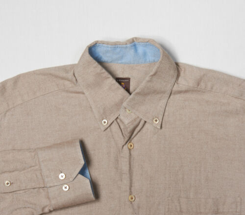 Mens ROBERT TALBOTT ESTATE Shirt M, Khaki Tan Chambray Weave ButtonDown Cotton