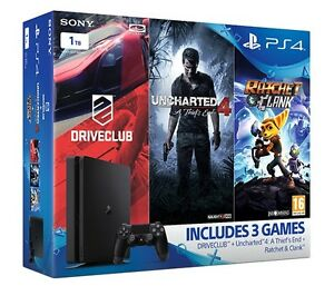 PS4-Slim-1TB-Console-Uncharted-4-Driveclub-Ratchet-amp-Clank
