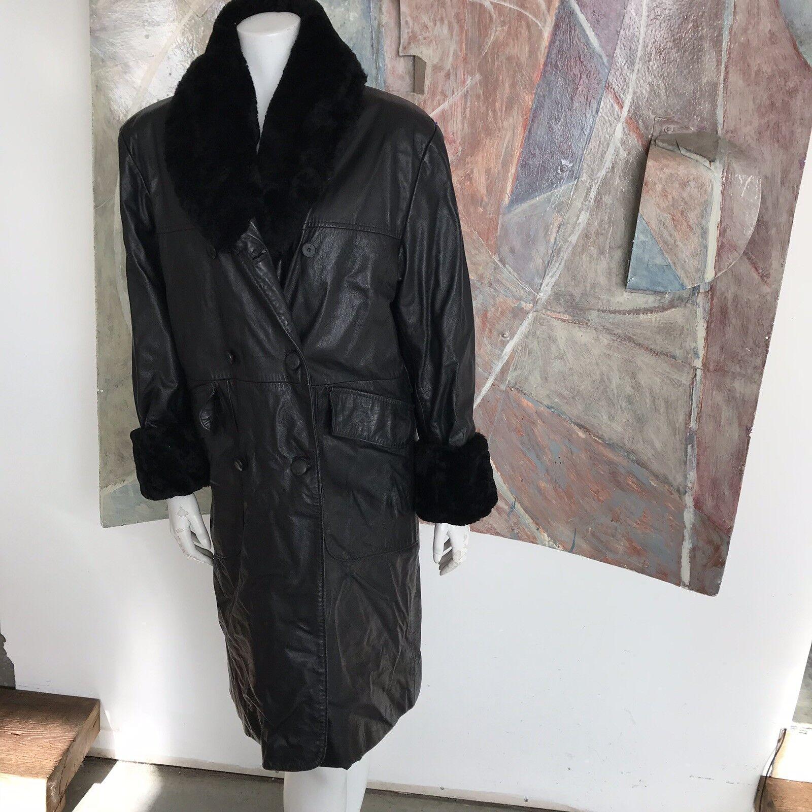 Vintage Schwarz Leder Kunstpelz Damen Trenchcoat (B) Sz Groß   XL