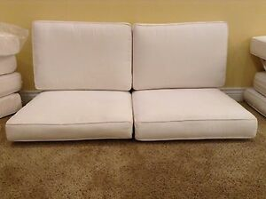 Details About 4 Pc Frontgate Monterey Lounge Outdoor Patio Sofa LOVESEAT  Cushions 44x20 White