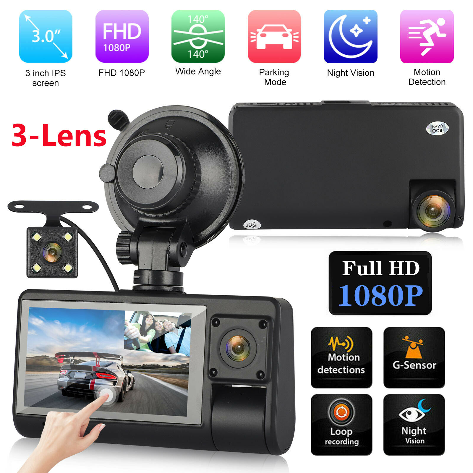 """3"""" 1080P 3-Lens Car DVR Dash Cam Front +Rear and Inside Camera 170° Night Vision 1080p and cam camera car dash dvr Featured front inside night"""