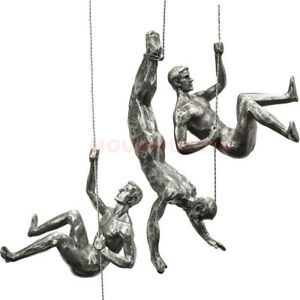 Handmade Résine Iron Man Escalade Corde Mural Art Rétro Sculpture grimpeur