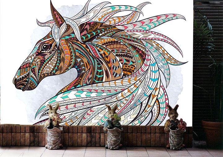 3D Totempferd 622 Tapete Tapeten Mauer Foto Familie Tapete Wandgemälde DE