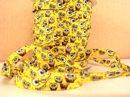 2 METRE SPONGE BOB SIZE 3//8 DOUBLE SIDED SHOE LACES PERFECT FOR BOWS HEADBANDS