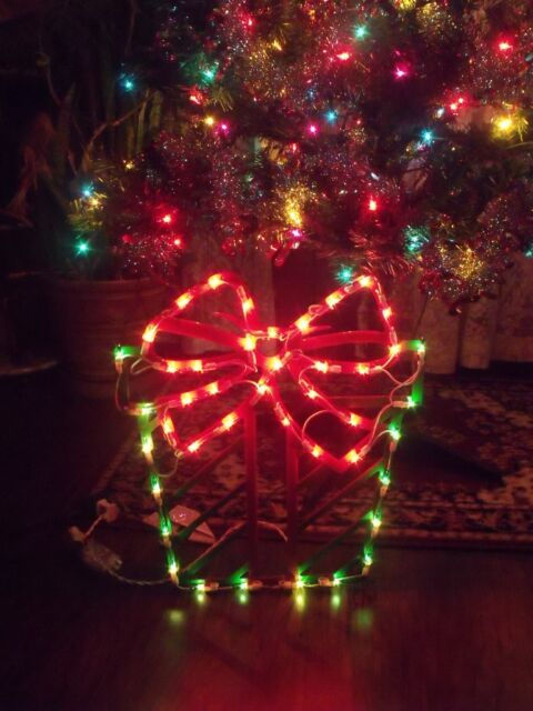 christmas outdoor lighted gift box present bow window sign yard light decoration