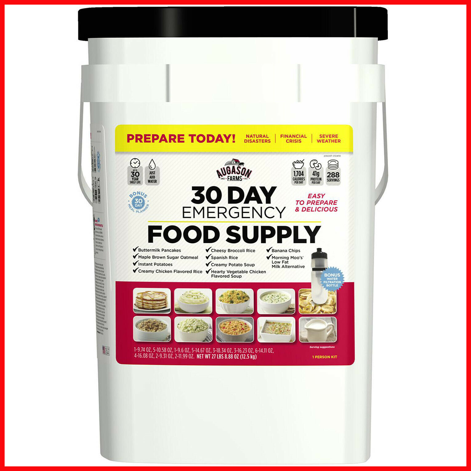 Augason Farms Emergency Food Supply Pail with Water Filtration Bottle