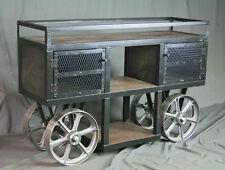 Reclaimed Wood, Industrial Trolley Bar Cart. Handmade. Console / Sofa Table