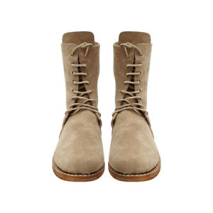 Men'sColonial Ankle High shoes Lace-up Leather Boots