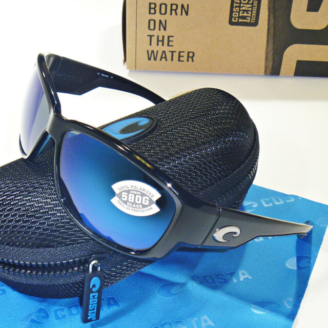 da3aae5682 Costa Del Mar Luke Polarized Sunglasses -Shiny Black Blue Mirror Glass 580G  Lens