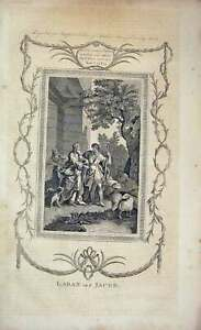 Old Antique Print Matthew Henry Bible C1750 Scene Laban Jacob Testement