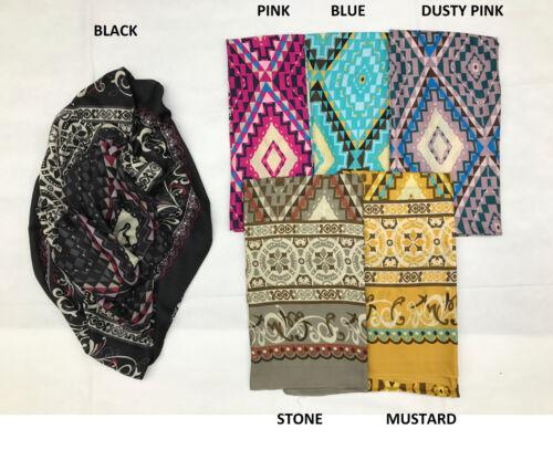 Aztec Checked Maze Print Large Maxi Satin Feel Plain Scarf Hijab Shawl Sarong