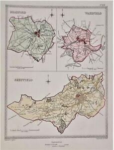 W YORKSHIRE TOWNS Bradford Wakefield Sheffield plans.CREIGHTON//WALKER 1835 map