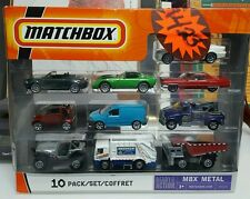 matchbox 10 pack B5610 MBX METAL garbage/recycle truck, towing truck, dump truck