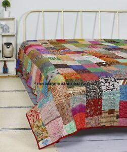 Gudari Vintage Patola Silk Sari Kantha Quilt Patchwork Bedspreads,Throws,Ralli,