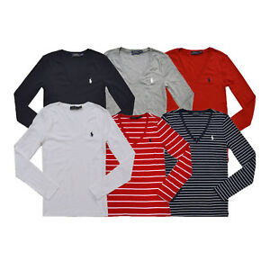 9c7ff614a Polo Ralph Lauren Womens T-shirt Long Sleeve V-Neck Perfect Tee Xs ...