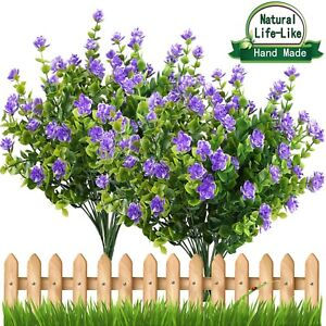 Artificial Flowers Outdoor Uv Resistant Plants Shrubs Boxwood Plastic Leaves Ebay