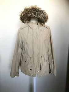 c02912337f2c Image is loading Womens-Khaaki-Jacket-a-n-a-Hooded-Fur-Sz-M