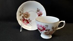 Ridgway-Potteries-England-Bone-China-Pink-Rose-8317-Royal-Vale-Cup-amp-Saucer