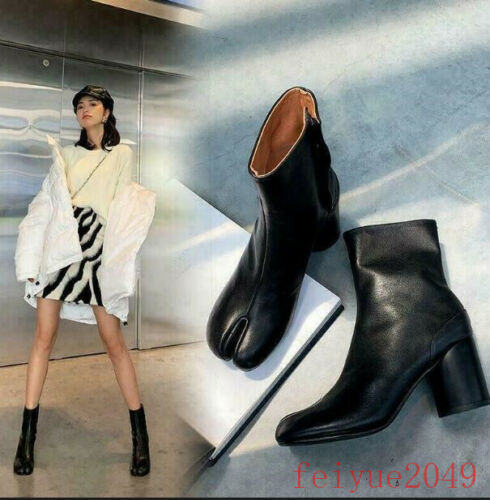 Womens Chic Split Toe Bootie Block Heel Side Hook Ankle Boots Leather Shoes NEW