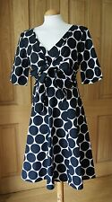 Phase Eight Black and White Spotted Cotton Short Sleeve V Neck Dress SIze16 BNWT