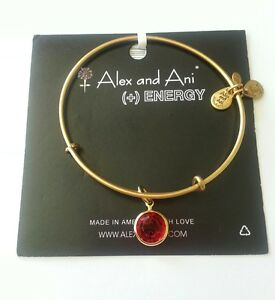 Details About Alex And Ani Ruby Red Crystal Chanel July Charm Gold Bangle Bracelet Nwt Box