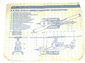 G.I JOE Series 2 Blueprints Instructions FULLY ARMED NEGATOR GYROCOPTER FANG